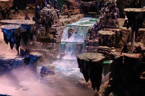 majestic waterfalls from the point of view of a distant driftstone
