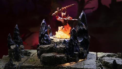 The hellish glow of the fire elemental myrmidon forebodes doom.