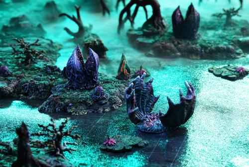 Dangerous plants lurk in the shallows and islands of the swamp.