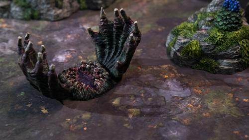 Bonebloom resting on Forest floor terrain trays without one-inch grid