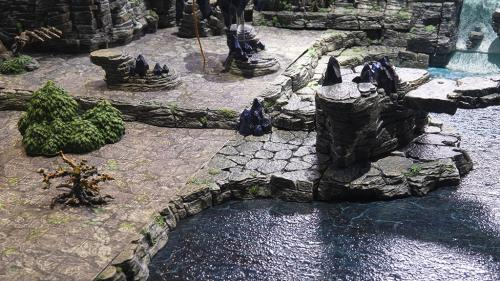 The stoney campsite by the waterfall's pool are laden with wyverstones and traps.
