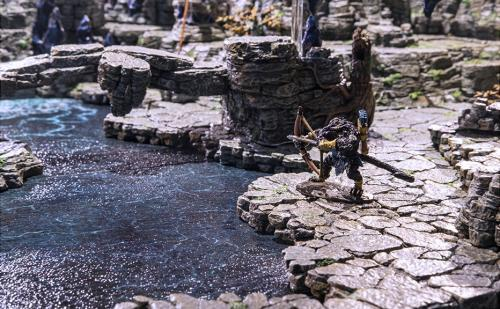 A weretiger is cautious be the mountain ledges by the pool of fresh spring water