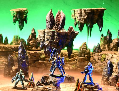 Space champions make ready for their conflict with the sorrowpod floating on driftstones in an alien planet.