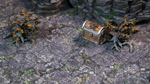 Nettlegorse plants and treasure chest atop mountain terrain tray